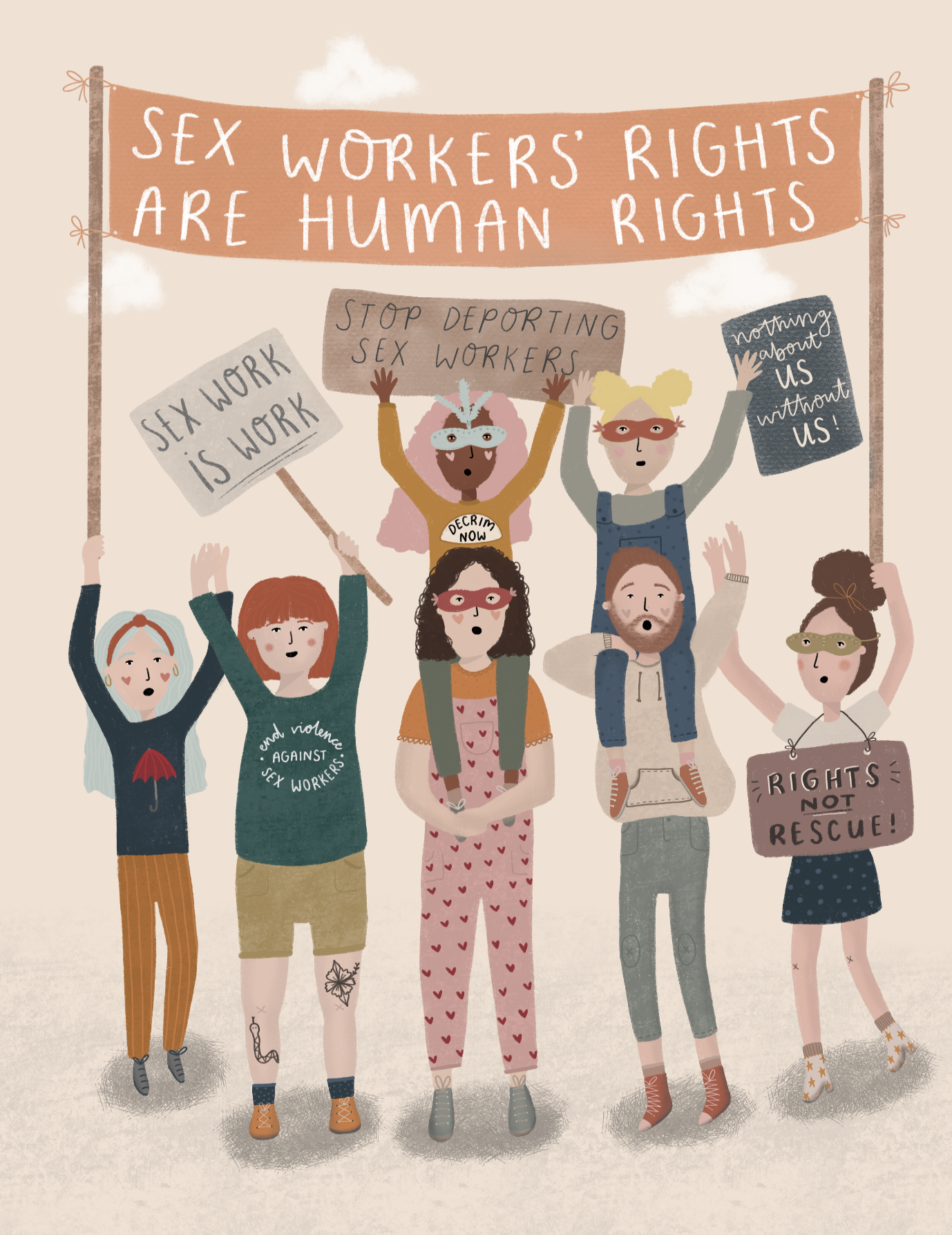 Sex workers rights protest illustration